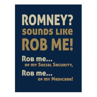 """AntiRomney """"Romney klingt wie Rob mich!"""" Politisch Postkarte"""