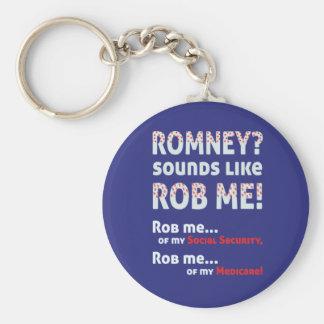 """AntiRomney """"Romney klingt wie Rob mich!"""" Politisch Standard Runder Schlüsselanhänger"""