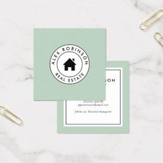 Anwesen-Geschäftskarte des Retro modernen Zuhause Quadratische Visitenkarte