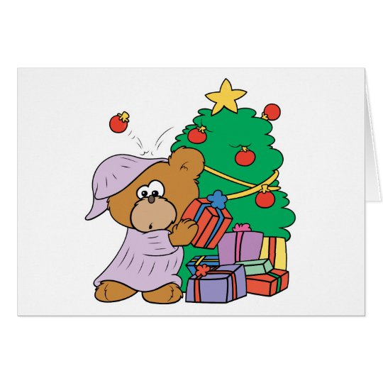 Anwesender spähender Weihnachtsbär Grußkarte