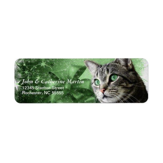 APAL - Weihnachtssilberne Tabby-Katze Rücksendeetikett