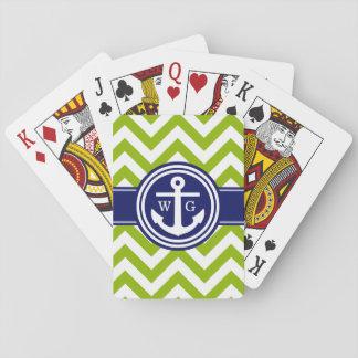 Apfelgrüne Marine weißes Zickzack Anker-Monogramm Spielkarten