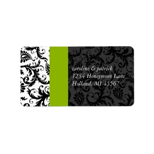 Apfelgrüne u. schwarze Damast-Adressen-Etiketten - Adressaufkleber