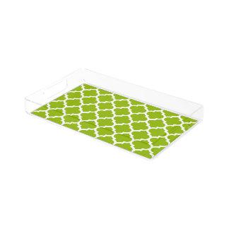 Apfelgrünes weißes Marokkaner Quatrefoil Muster #5 Acryl Tablett