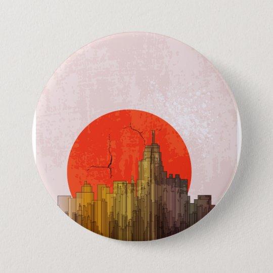 Apokalyptischer Retro Stadt-Knopf Runder Button 7,6 Cm
