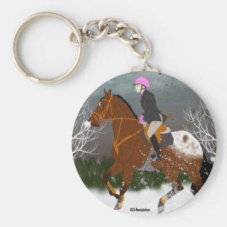 Appaloosa-Pferd und Reiter Schlüsselanhänger