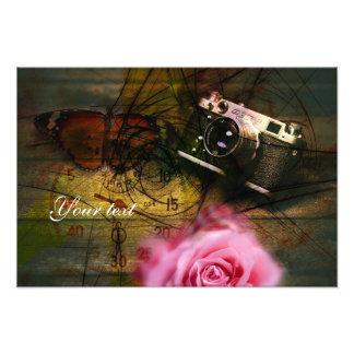 Appareil-photo, horloge et fleur vintages uniques photo sur toile