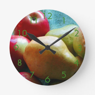 Apple-Birnen-Freuden-Wanduhr Runde Wanduhr