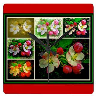Apple-Blüten-Collage - erhöhtes Digital-Foto Quadratische Wanduhr