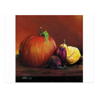 Apple, Damaszenerpflaume und Zitrone Postkarte