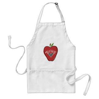 Apple et tablier rouges de professeur de coeur