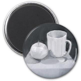 Apple et tasse en peinture de BW Magnets Pour Réfrigérateur