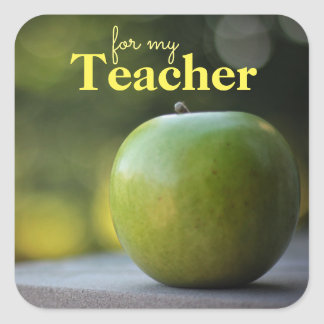 Apple für das Lehrer-Geschenk etikettieren Quadratischer Aufkleber