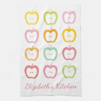 Apple schneidet personalisiertes Namensküchen-Tuch Handtuch