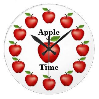 Apple setzen Zeit fest, roter-Delicious Große Wanduhr