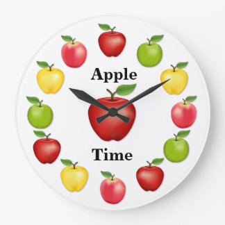 Apple-Zeit, köstlich, Oma-Smith, rosa Vielzahl Große Wanduhr