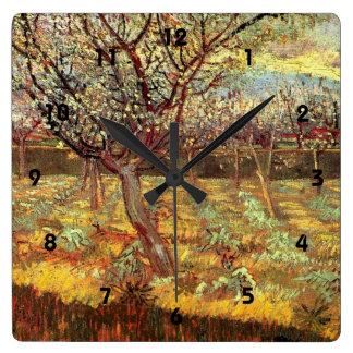 Aprikosen-Bäume in der Blüte durch Van Gogh Quadratische Wanduhr
