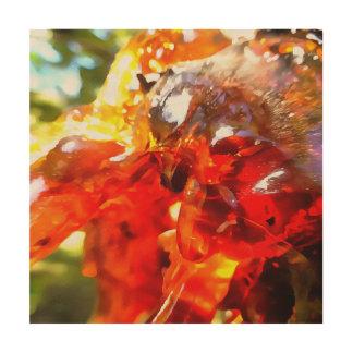 Aprikosen-Harz abstrakt Holzleinwand