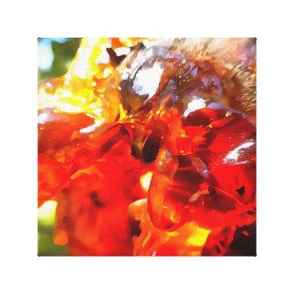Aprikosen-Harz abstrakt Leinwanddruck