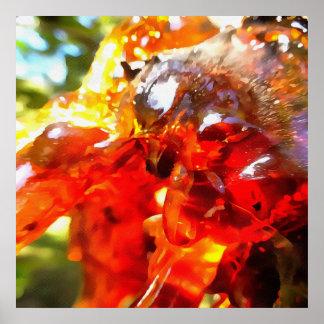 Aprikosen-Harz abstrakt Poster