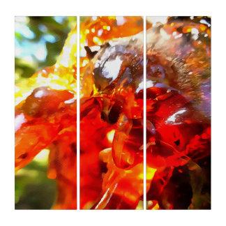 Aprikosen-Harz abstrakt Triptychon