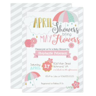 April duscht Babyparty-Einladung Karte