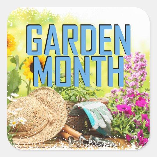 April - Garten-Monat Quadratischer Aufkleber