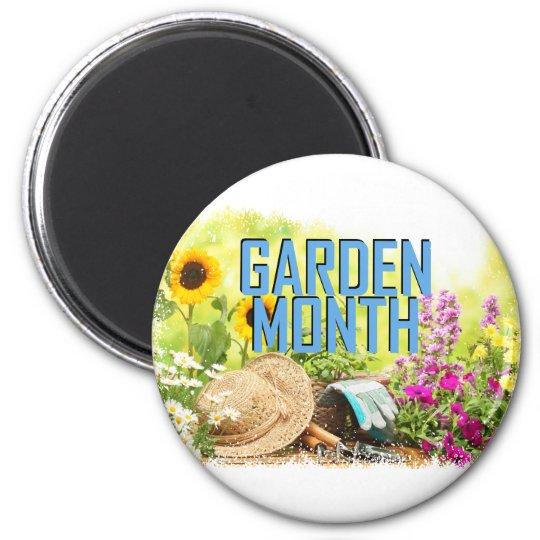 April - Garten-Monat Runder Magnet 5,7 Cm