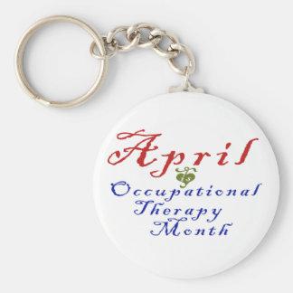 April ist Beschäftigungstherapie-Monat Standard Runder Schlüsselanhänger