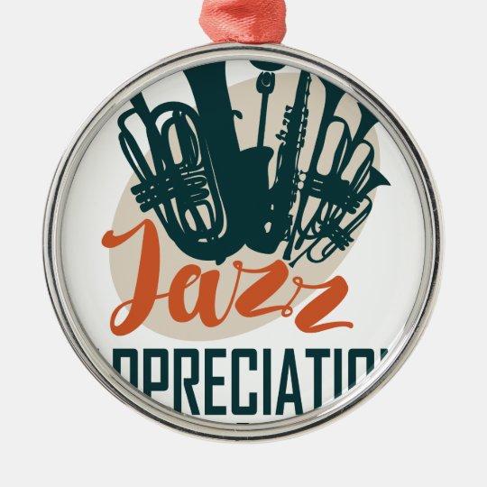 April - Jazz-Anerkennungs-Monat Rundes Silberfarbenes Ornament