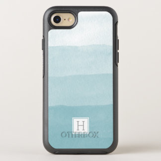 Aqua-Aquarell Ombre Steigungs-Monogramm OtterBox Symmetry iPhone 7 Hülle