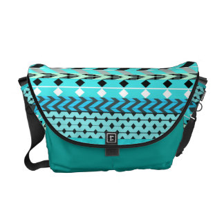Aqua-Azteke-Muster Kurier Tasche