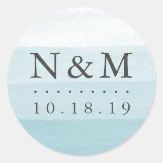 Aqua-Bad-Färbungs-Aquarell-Hochzeits-Monogramm Runder Aufkleber