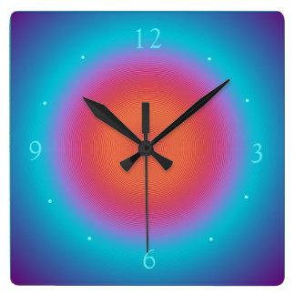Aqua belichteter orange rosa Entwurf > Wanduhren Quadratische Wanduhr