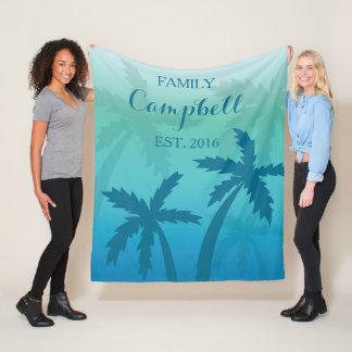 Aqua-blaue Palme-tropische kundenspezifische Fleecedecke