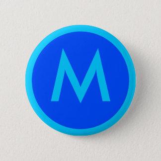 Aqua-blauer Abzeichen-Knopf des Buchstabe-M Runder Button 5,1 Cm