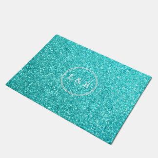 Aqua-blauer Glitter mit weißen Details Türmatte