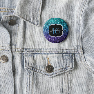 Aqua blauer Ombre Glitter-Glitzern Bonbon 16 Runder Button 5,7 Cm