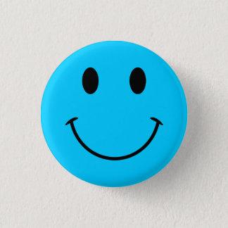 Aqua-blauer Smiley-Knopf Runder Button 3,2 Cm