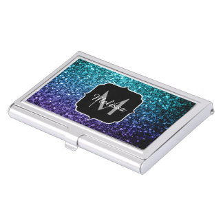 Aqua blaues Ombre Glitter-Glitzern Monogramm Visitenkarten Dose