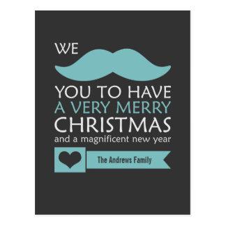 Aqua-blaues Schnurrbart-Weihnachten Postkarte