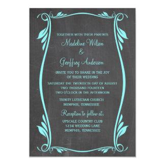 Aqua blühen Tafel-Hochzeit einladen 12,7 X 17,8 Cm Einladungskarte