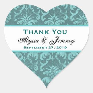 Aqua-Damast danken Ihnen Hochzeits-Herz B451 Aufkleber