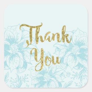 Aqua-danken blauer Blumen-und GoldGlitter Ihnen Quadratischer Aufkleber