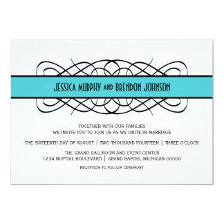 Aqua-Deko blühen Hochzeit einladen 12,7 X 17,8 Cm Einladungskarte