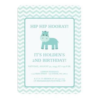 Aqua-Flusspferd mit Zickzack Geburtstag Karte