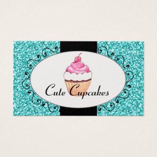 Aqua-Glitter-niedliche Kuchen-Bäckerei Visitenkarten