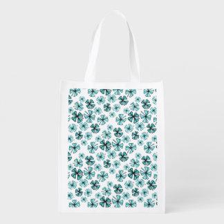 Aqua-glücklicher Kleeblatt-Klee Wiederverwendbare Einkaufstasche