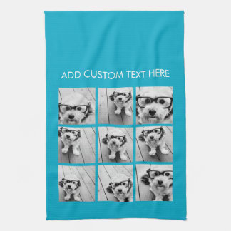 Aqua Instagram Foto-Collage mit 9 quadratischen Fo Handtücher