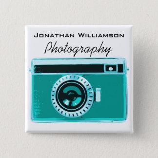 Aqua-Kamera-Fotografie-Geschäft Quadratischer Button 5,1 Cm